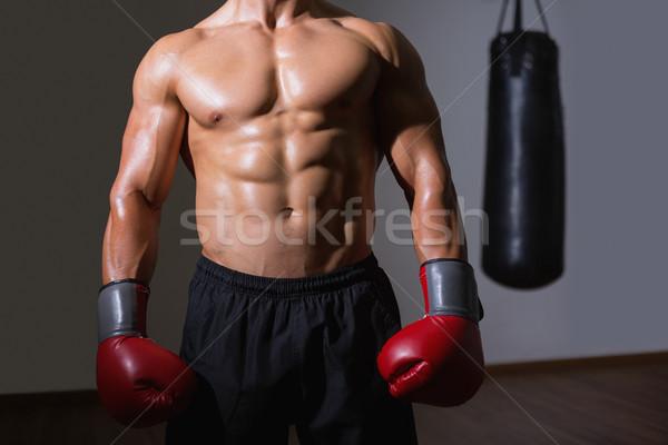 Középső rész póló nélkül izmos boxoló áll egészség Stock fotó © wavebreak_media