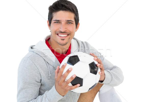 Retrato sorridente bonito futebol ventilador branco Foto stock © wavebreak_media