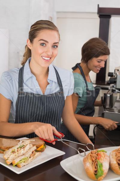 かなり 作業 笑顔 コーヒーショップ ビジネス 食品 ストックフォト © wavebreak_media