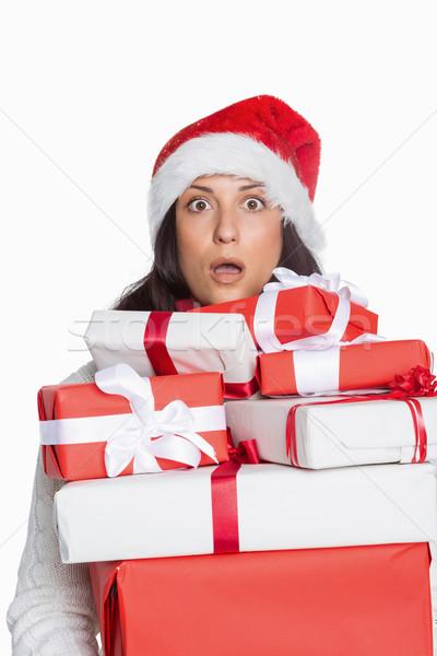 Megrémült nő karácsony ajándékok fehér piros Stock fotó © wavebreak_media