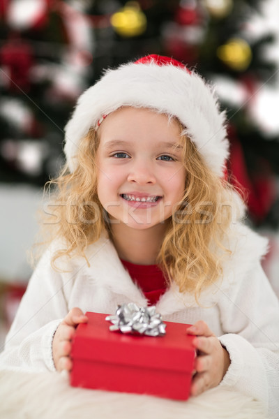 Festive little girl holding a gift Stock photo © wavebreak_media