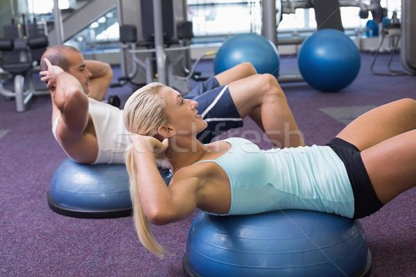 Uygun çift karın spor salonu yandan görünüş vücut Stok fotoğraf © wavebreak_media