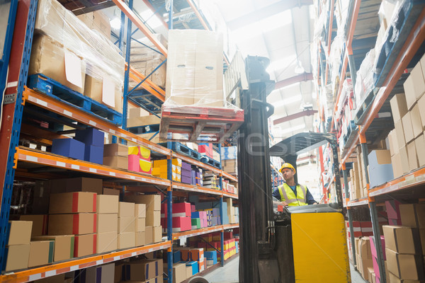 Focused driver operating forklift machine Stock photo © wavebreak_media