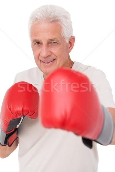 старший человека боксерские перчатки белый счастливым фитнес Сток-фото © wavebreak_media