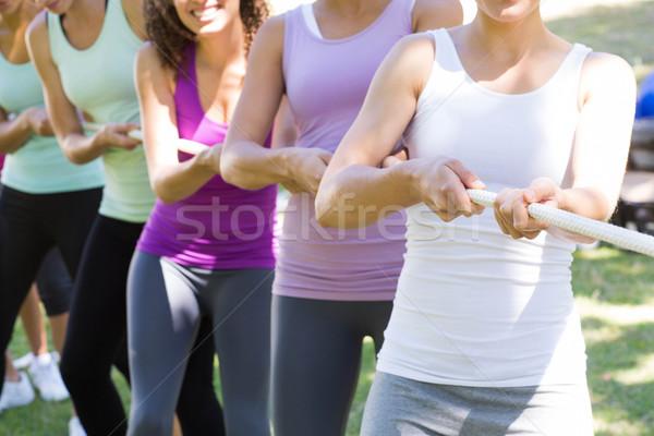 Stock fotó: Fitnessz · csoport · játszik · háború · napos · idő · nő