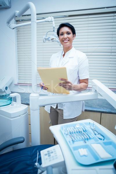 Gülen kadın dişçi okuma portre Stok fotoğraf © wavebreak_media