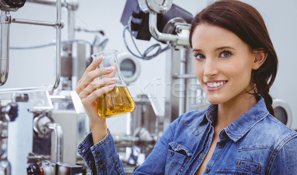 Sorrindo proveta cerveja fábrica indústria Foto stock © wavebreak_media