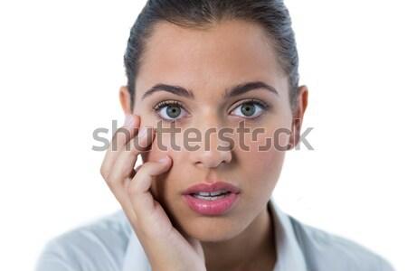 Pretty brunette with teeth pain  Stock photo © wavebreak_media