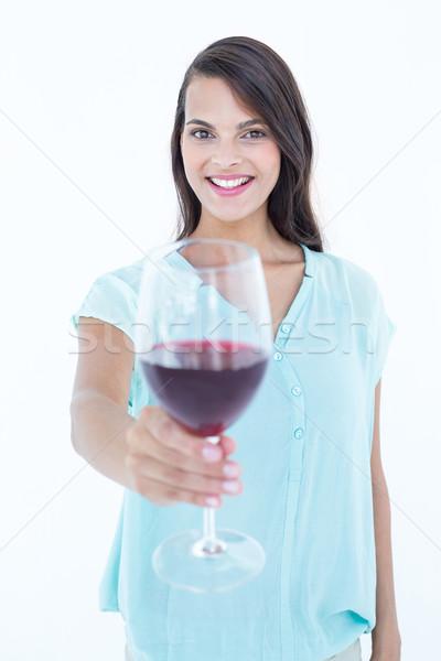Pretty woman vino rosso vetro bianco femminile cool Foto d'archivio © wavebreak_media