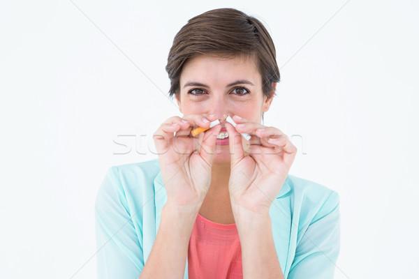 Bruna sigaretta bianco morte ritratto femminile Foto d'archivio © wavebreak_media
