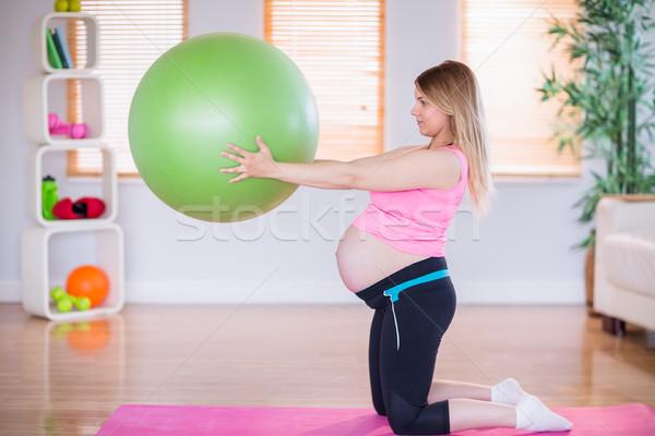 Terhes nő tart testmozgás labda otthon ház Stock fotó © wavebreak_media