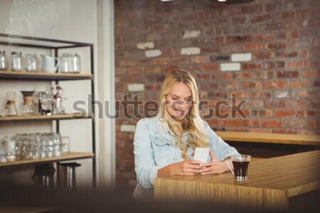 Glimlachend barista counter portret coffeeshop Stockfoto © wavebreak_media