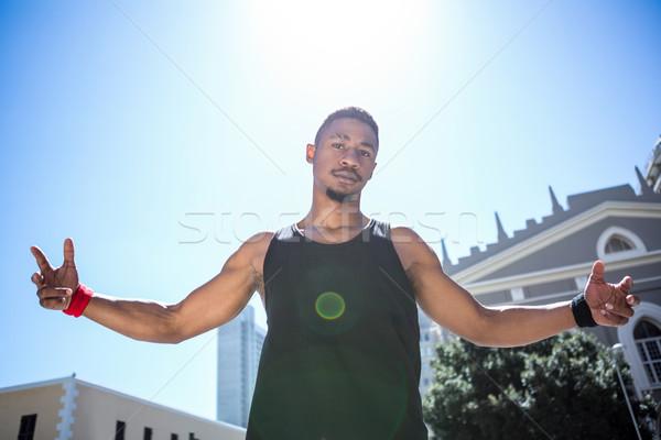 Ritratto atleta open braccia felice Foto d'archivio © wavebreak_media
