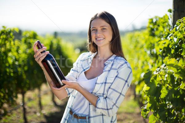 портрет бутылку вина виноградник Сток-фото © wavebreak_media