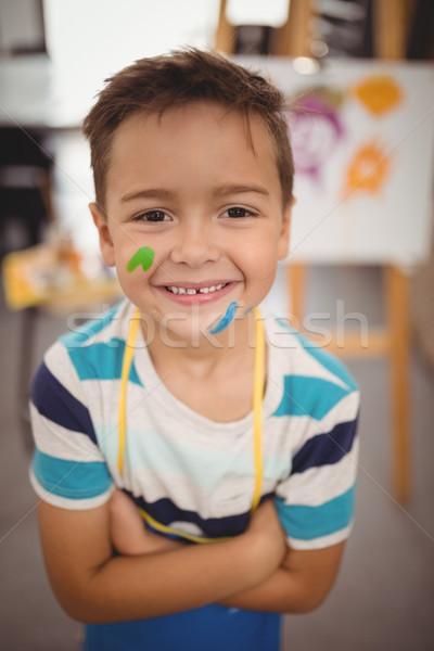 Sorridere scolaro vernice faccia ritratto arte Foto d'archivio © wavebreak_media