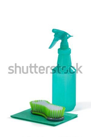 Limpieza aerosol botella esponja cepillo blanco Foto stock © wavebreak_media