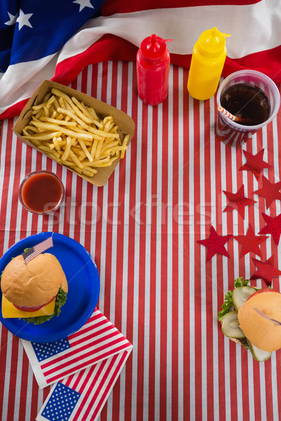 Foods and drink arranged on table Stock photo © wavebreak_media