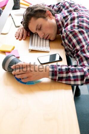 Cansado empresario escritorio oficina pelo rizado creativa Foto stock © wavebreak_media