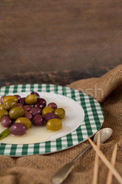 Close up of olives served in plate Stock photo © wavebreak_media