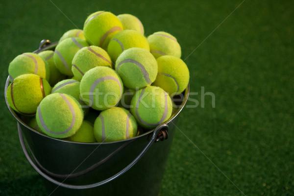 Tenisz golyók vödör mező üzlet sport Stock fotó © wavebreak_media