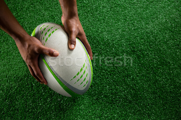 Vue mains ballon de rugby domaine Photo stock © wavebreak_media