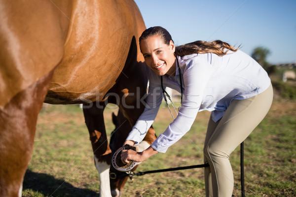 Smiling vet examining horseshoe at barn Stock photo © wavebreak_media