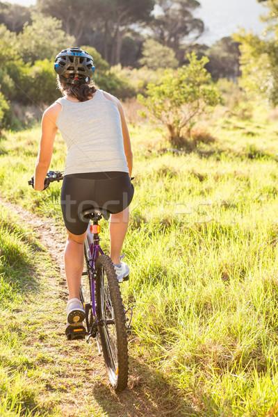 Hátsó nézet sportos barna hajú hegyikerékpározás természet nő Stock fotó © wavebreak_media