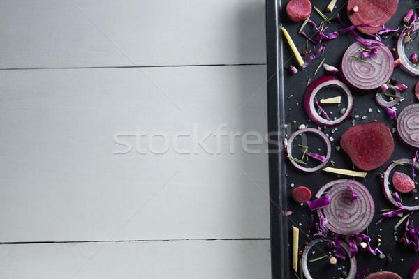 Uien dienblad tabel Rood zwarte Stockfoto © wavebreak_media