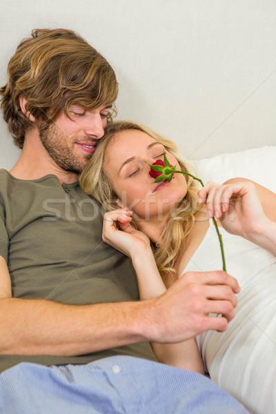 Cute paar knuffelen vriendin steeg slaapkamer Stockfoto © wavebreak_media