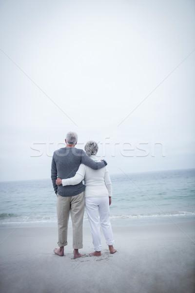 Rear view of senior couple embracing on beach Stock photo © wavebreak_media