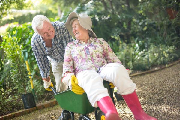 Férj toló idős ül talicska boldog Stock fotó © wavebreak_media