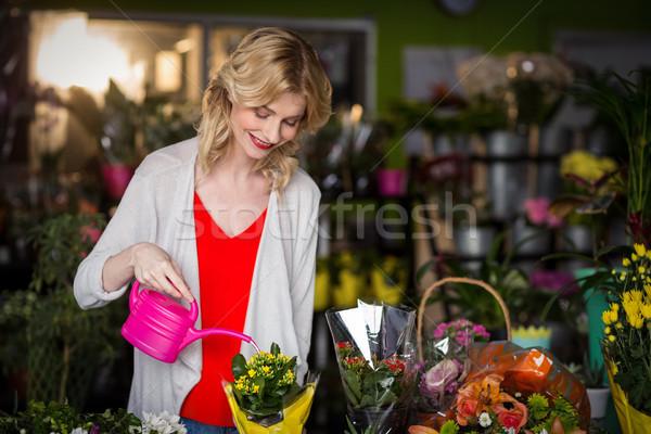 Női virágárus locsol virágok locsolókanna virágüzlet Stock fotó © wavebreak_media