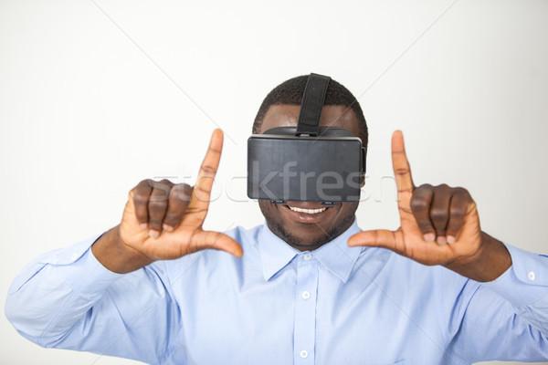 Człowiek faktyczny rzeczywistość zestawu biały zabawy Zdjęcia stock © wavebreak_media
