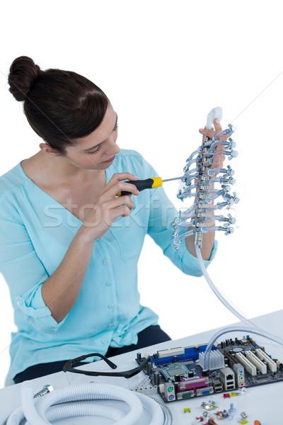 女性 コンピュータ エンジニア マザーボード 白 ストックフォト © wavebreak_media