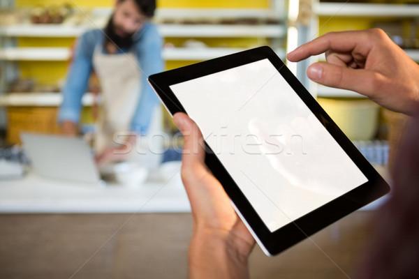 スタッフ デジタル タブレット ベーカリー カウンタ 市場 ストックフォト © wavebreak_media