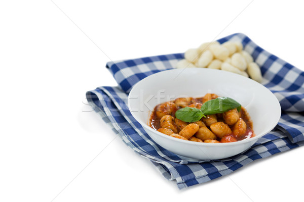 High angle view of gnocchi pasta in bowl on napkin Stock photo © wavebreak_media