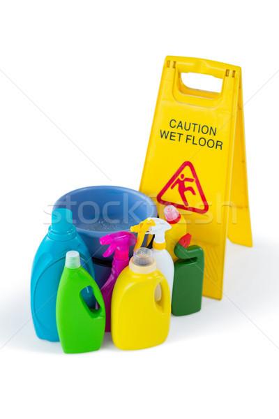 Görmek tahta temizleme ürünleri moda şişe Stok fotoğraf © wavebreak_media