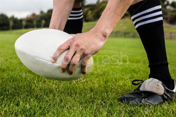 Rögbi játékos rúgás labda park férfi Stock fotó © wavebreak_media