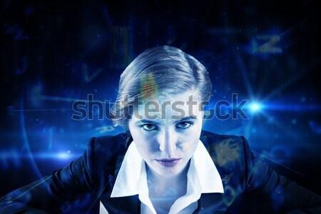 összetett kép szívós rögbi játékos tart Stock fotó © wavebreak_media