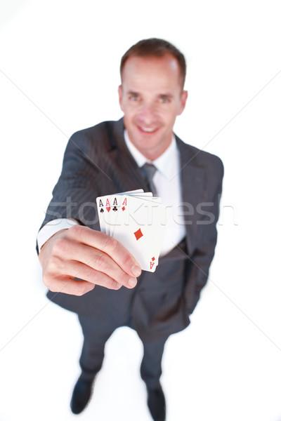 Işadamı dört aces poker Stok fotoğraf © wavebreak_media