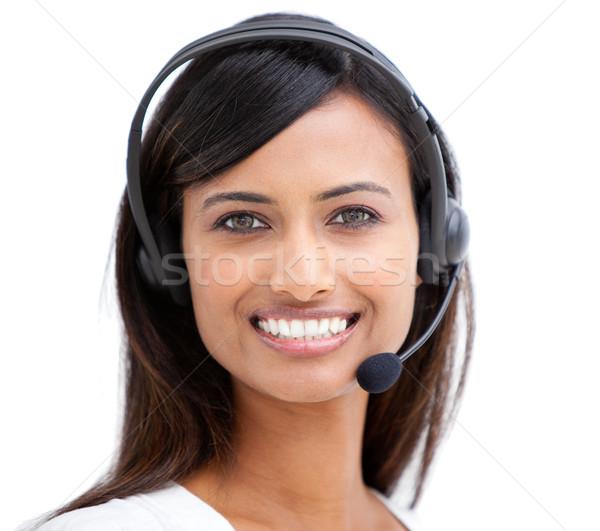 Elragadtatott ügyfélszolgálat képviselő headset üzlet számítógép Stock fotó © wavebreak_media