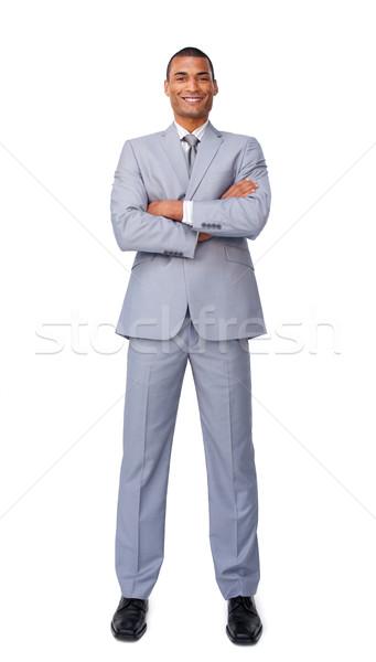 Tolakodó üzletember telefon izolált fehér üzlet Stock fotó © wavebreak_media