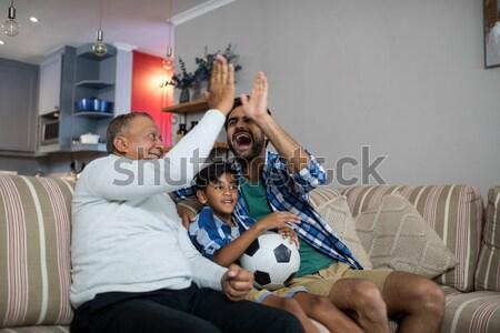 семьи смотрят футбола матча домой счастливым Сток-фото © wavebreak_media
