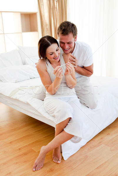 Happy couple finding out results of a pregnancy test Stock photo © wavebreak_media