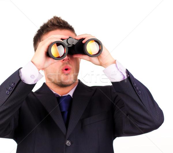 Man naar verrekijker verrassing gelukkig metaal Stockfoto © wavebreak_media