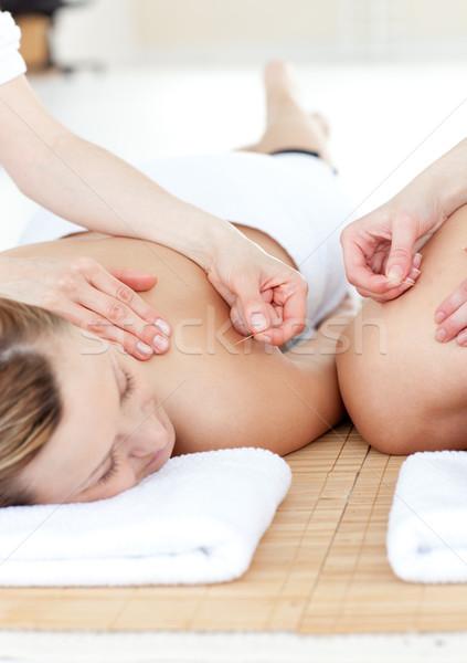 Gülen çift akupunktur tedavi spa Stok fotoğraf © wavebreak_media