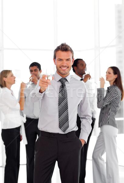 Blijde business manager glas team Stockfoto © wavebreak_media