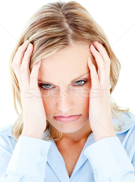 Portrait of a frustrated woman against white background wearing blouse Stock photo © wavebreak_media