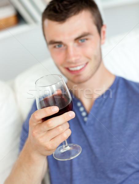 カリスマ的な 若い男 ガラス ワイン 座って ストックフォト © wavebreak_media