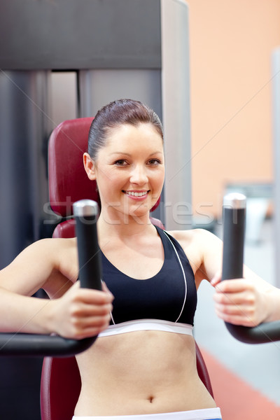 Stockfoto: Mooie · atletisch · vrouw · bank · druk · glimlachend